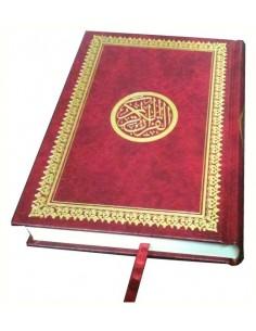 Coran arabe - Lecture Hafs - Couverture rouge dorée rigide - 14 x 20 cm