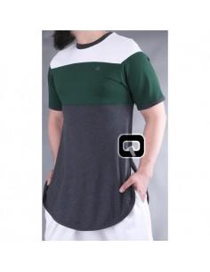 Tee Shirt Qabail Gris Et Vert Ref : 06
